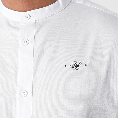 SikSilk - Chemise Manches Courtes Grandad Collar Blanc