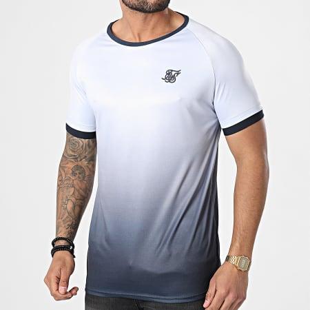 SikSilk - Tee Shirt Dégradé Straigh Hem Fade Tech Gris Bleu Marine