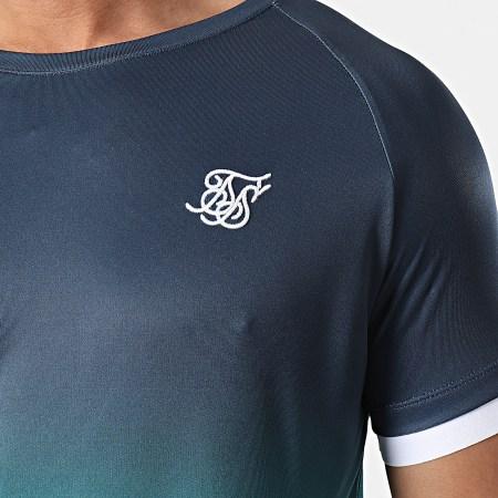 SikSilk - Tee Shirt Dégradé Straigh Hem Fade Tech Bleu Marine Vert
