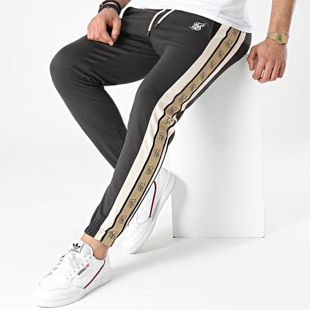 SikSilk - Pantalon Jogging A Bandes Premium Tape 17846 Gris Anthracite