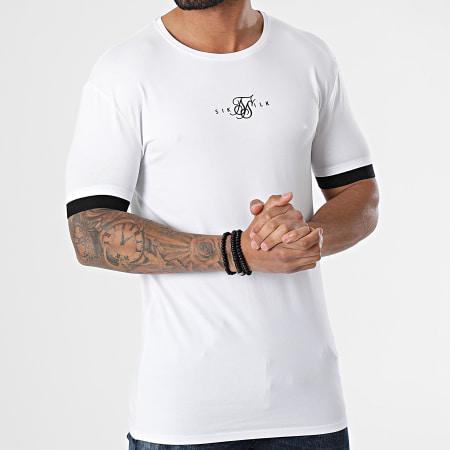 SikSilk - Tee Shirt Inset Elastic Cuff Gym Blanc