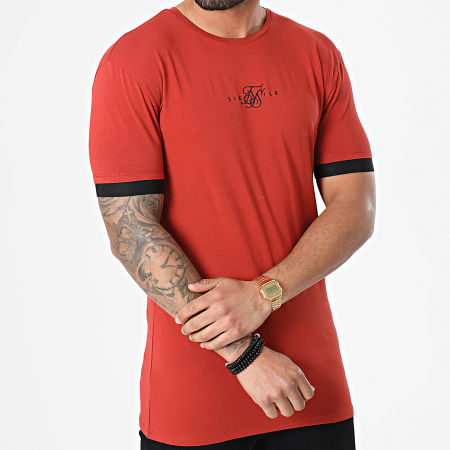 SikSilk - Tee Shirt Inset Elastic Cuff Gym Rouge Brique