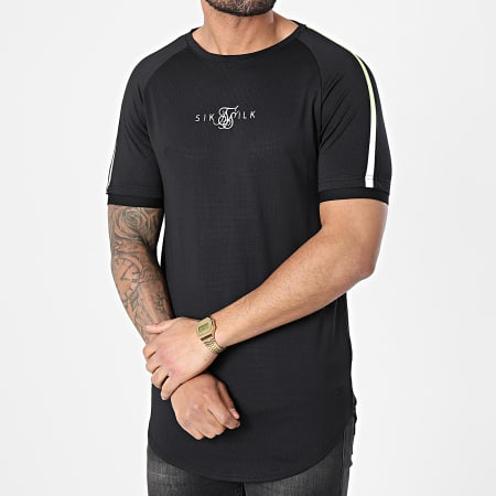 SikSilk - Tee Shirt Oversize A Bandes Legacy Fade Tech Noir