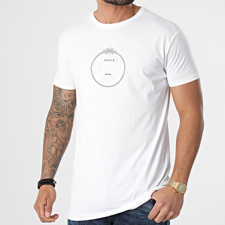 SikSilk - Tee Shirt Straight Hem Chain Print Box Blanc