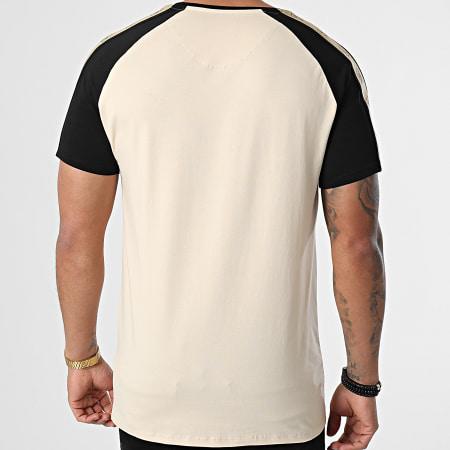 SikSilk - Tee Shirt A Bandes Raglan Premium Gym Beige Noir