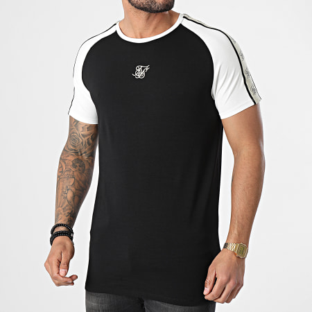 SikSilk - Tee Shirt A Bandes Raglan Premium Gym Noir Blanc