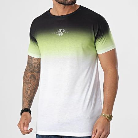 SikSilk - Tee Shirt Dégradé High Fade Noir Vert Blanc