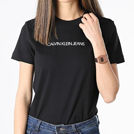 Calvin Klein Jeans - Tee Shirt Femme Shrunken Insitutional 5322 Noir