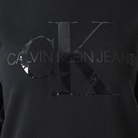Calvin Klein Jeans - Robe Sweat Crewneck Femme Tonal Monogram 6343 Noir