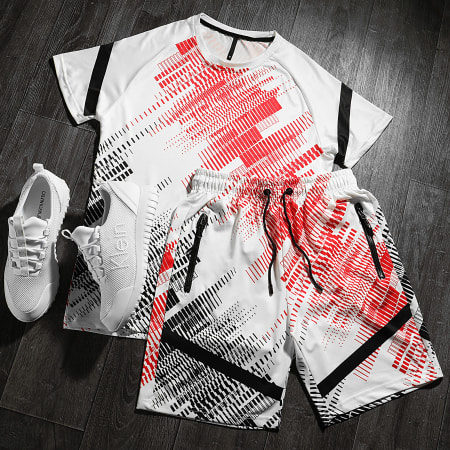 Zayne - Ensemble Short Tee Shirt E205 Blanc Noir Rouge