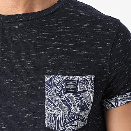Deeluxe - Tee Shirt Poche Floral Shamar Bleu Marine