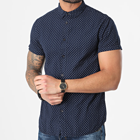 Deeluxe - Chemise Manches Courtes Floral Pagos Bleu Marine