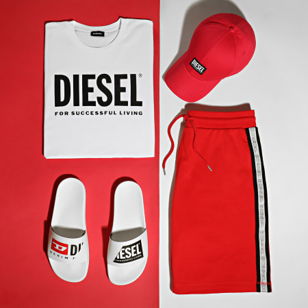Diesel - Short Jogging A Bandes 00S148-0TAWI Rouge