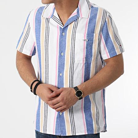 Tommy Jeans - Chemise Manches Courtes TJM Striped Camp 0145 Blanc Bleu Chiné