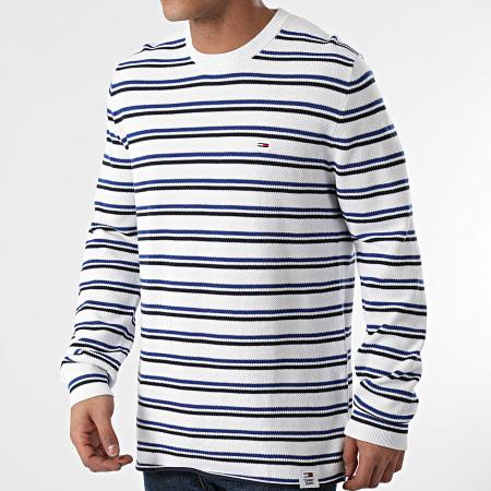 Tommy Jeans - Tee Shirt Manches Longues A Rayures Multistripe Cotton 0185 Blanc Bleu Noir