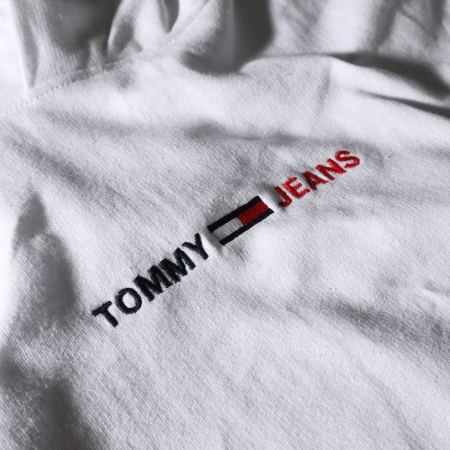 Tommy Jeans - Sweat Capuche Straight Logo 0190 Blanc