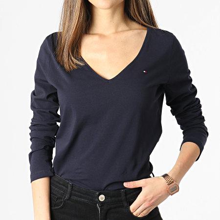 Tommy Hilfiger - Tee Shirt Manches Longues Femme Col V Regular Classic 0489 Bleu Marine