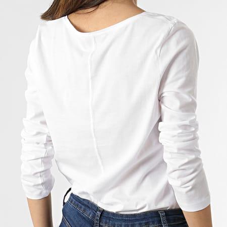 Tommy Hilfiger - Tee Shirt Manches Longues Femme Col V Regular Classic 0489 Blanc