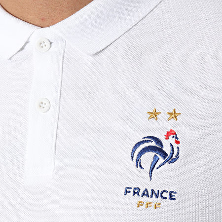 FFF - Polo Manches Courtes Tricolore F20084 Blanc