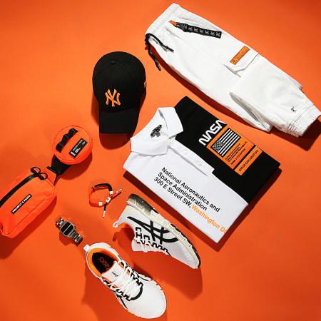 Final Club - Polo Nasa Half Limited Edition Noir Blanc Détails Orange Fluo