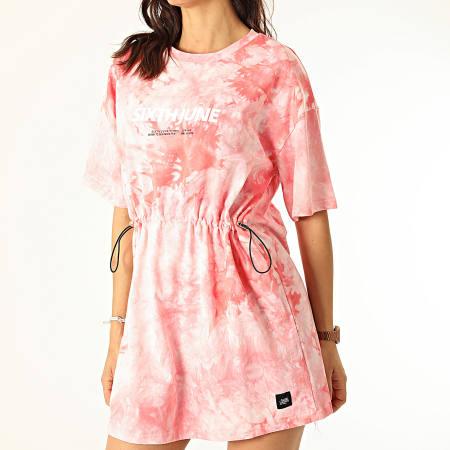 Sixth June - Robe Tee Shirt Femme W32816KDR Rose