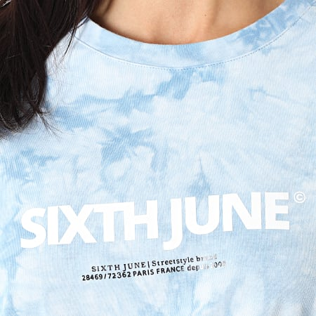 Sixth June - Robe Tee Shirt Femme W32816KDR Bleu Clair