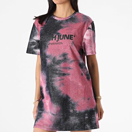 Sixth June - Robe Tee Shirt Femme W4302VDR Noir Rose