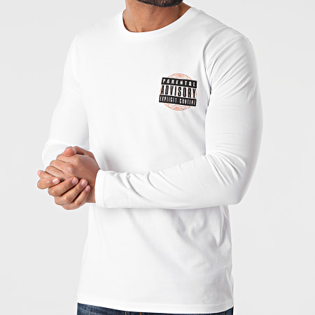 Parental Advisory - Tee Shirt Manches Longues Globe Blanc
