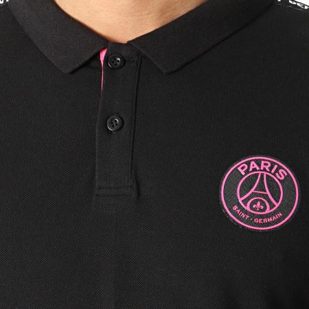 PSG - Polo Manches Courtes A Bandes P13974 Noir