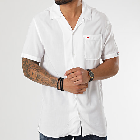 Tommy Jeans - Chemise Manches Courtes Oversize Solid Camp 0645 Blanc