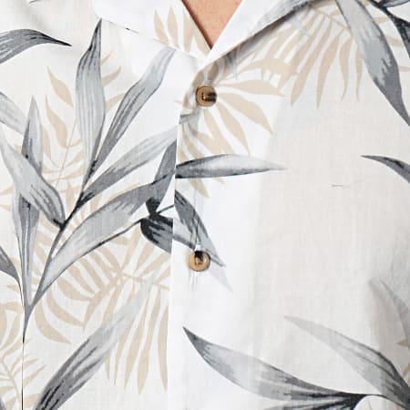 Jack And Jones - Chemise Manches Courtes Reg AOP Blanc Gris Beige Floral