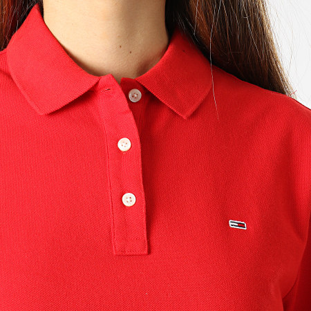Tommy Jeans - Polo Manches Courtes Femme Slim 9199 Rouge