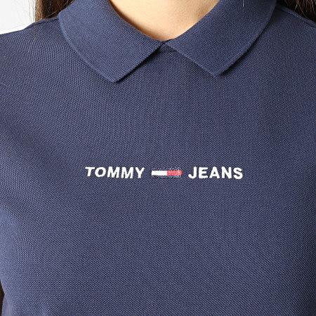 Tommy Jeans - Polo Manches Courtes Crop Femme Regular Linear 9909 Bleu Marine