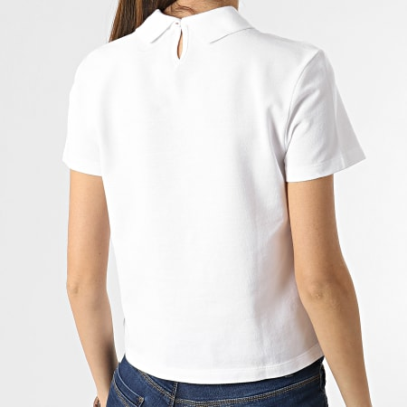 Tommy Jeans - Polo Manches Courtes Crop Femme Regular Linear 9909 Blanc