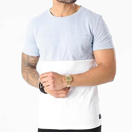 Tom Tailor - Tee Shirt Poche 1025124-XX-12 Blanc Bleu Clair