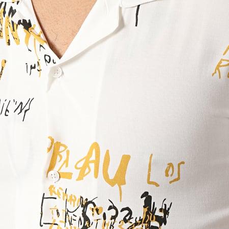 Mackten - Chemise Manches Courtes 923009 Blanc Jaune