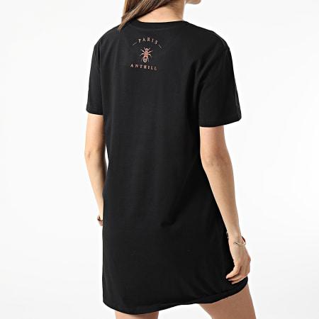 Anthill - Robe Tee Shirt Femme Logo Noir Rouge