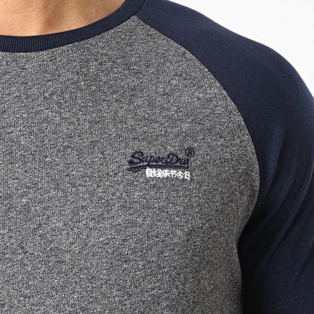 Superdry - Tee Shirt OL Baseball M1010864A Gris Chiné Bleu Marine