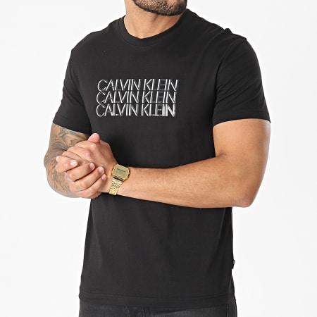 Calvin Klein - Tee Shirt Triple Center Logo 7158 Noir