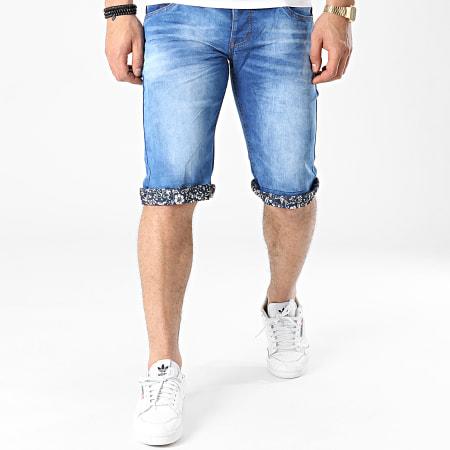 Mackten - Short Jean Slim JS516 Bleu Denim