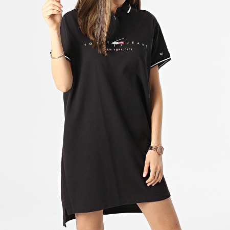 Tommy Jeans - Robe Polo Manches Courtes Femme Modern Logo 9854 Noir