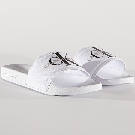 Calvin Klein Jeans - Claquettes Femme Slide Monogram 0103 Bright White