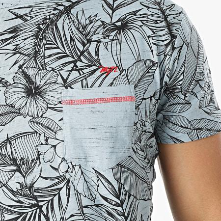 MZ72 - Tee Shirt Poche Tell Bleu Clair Floral