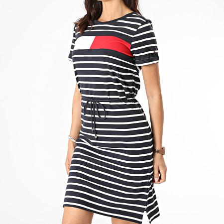 Tommy Hilfiger - Robe Tee Shirt Femme A Rayures ABO Regular Flag 2438 Bleu Marine Blanc