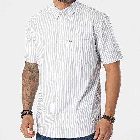 Tommy Jeans - Chemise Manches Courtes A Rayures Striped 0160 Blanc Bleu Clair