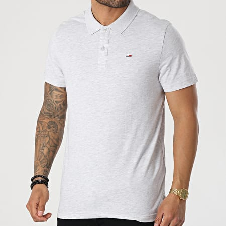 Tommy Jeans - Polo Manches Courtes Essential Jersey 0322 Gris Chiné