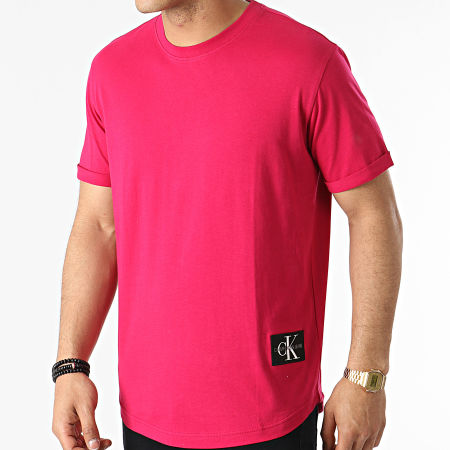 Calvin Klein Jeans - Tee Shirt Oversize Badge Turn Up 5319 Fushia