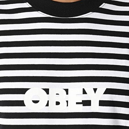 Obey - Tee Shirt Manches Longues A Rayures Joy Blanc Noir