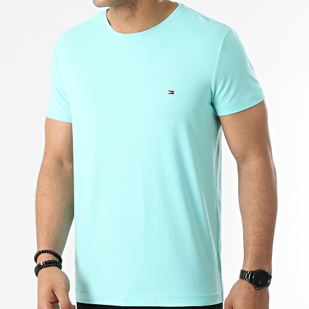 Tommy Hilfiger - Tee Shirt Stretch Slim 0800 Bleu Turquoise