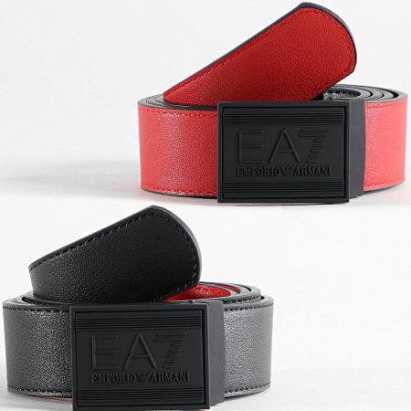 EA7 - Ceinture Réversible 245376 Noir Rouge